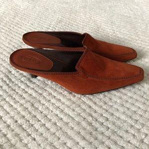 TOD's Suede Kitten Heel Mules 7.5 Rust Color